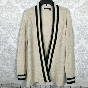 RDI Tan Black Striped Shaker Collegiate Cardigan